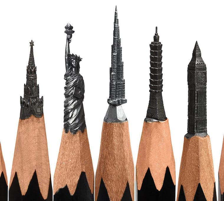 Sculptures on the tips of lead pencils