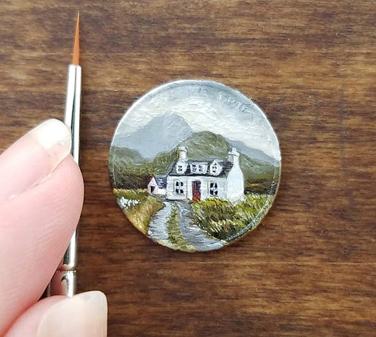 Miniature Paintings on Clayboard and Coins