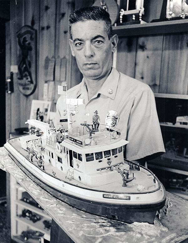Tom Showers with model fireboat