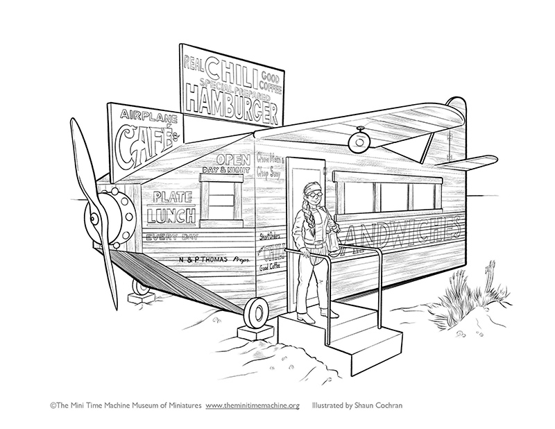 Airplane Cafe Coloring Page