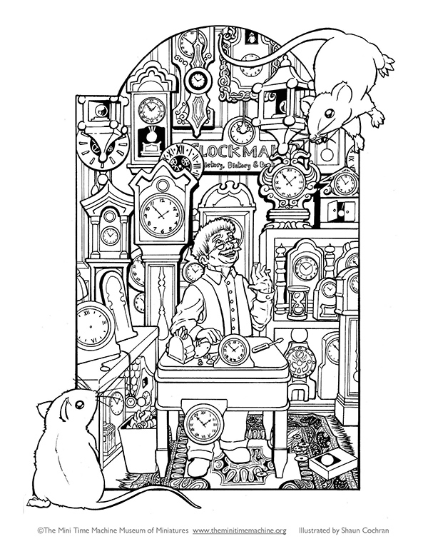 Clockshop Coloring Page