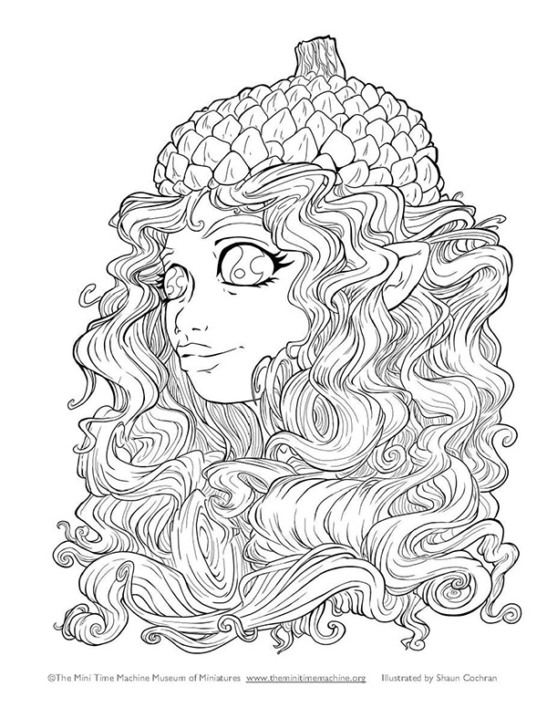 Fairy Caitlin with Acorn Hat Coloring Page