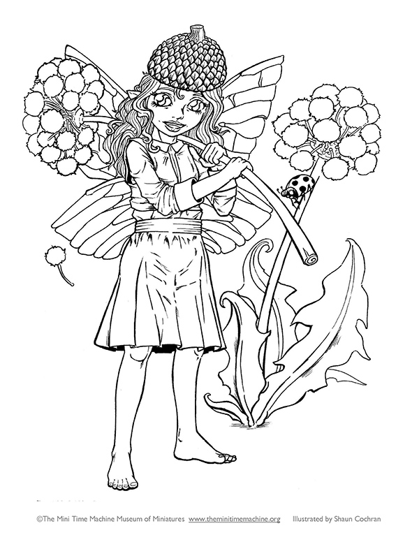 Fairy Caitlin with Dandelion Coloring Page