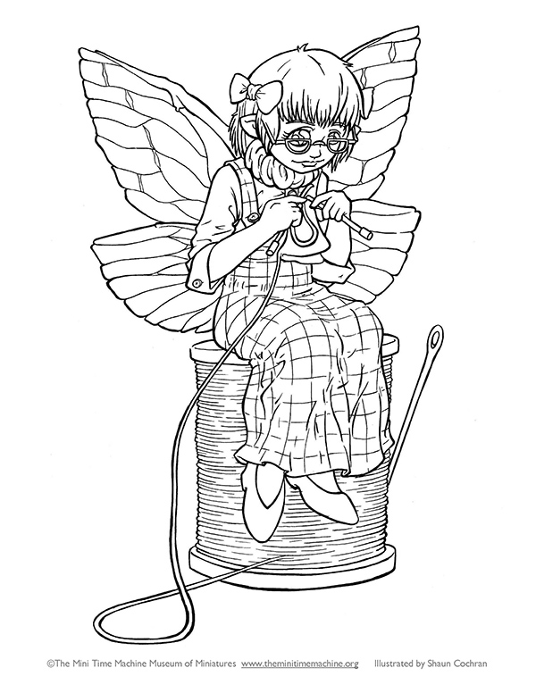 Fairy Caitlin Knitting Coloring Page