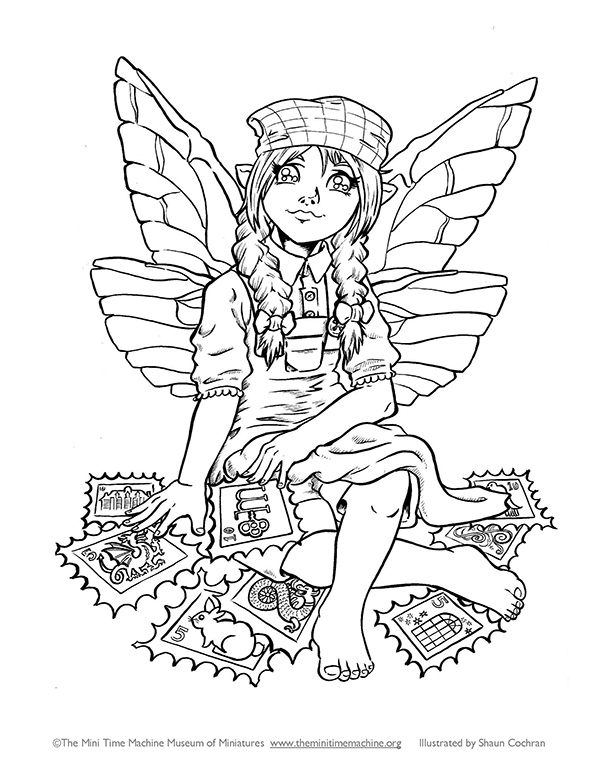 Fairy Caitlin with Stamps Coloring Page
