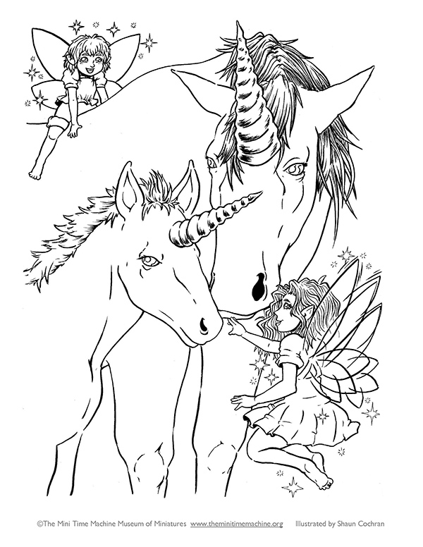 Unicorns and Fairies Coloring Page